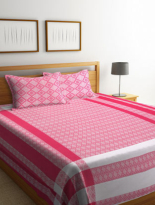 Pink Cotton Double Bed Cover with Pillow Covers (Set of 3)
