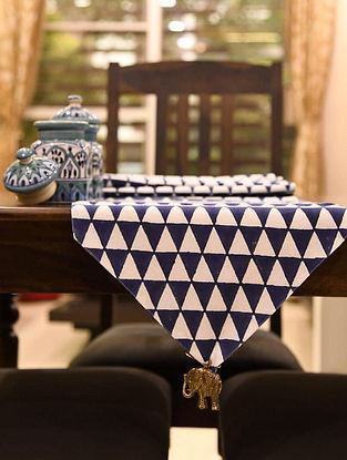 Blue White Handblock Printed Table Runner