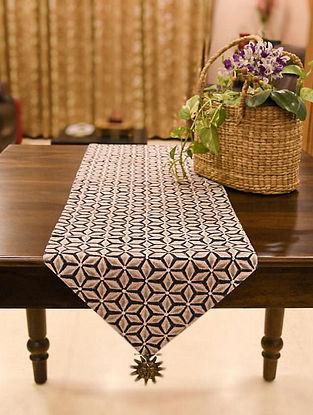 White Brown Handblock Printed Table Runner