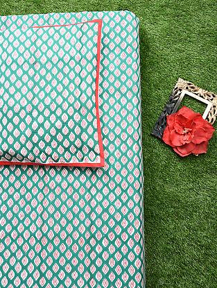 Green Red Handblock Printed Cotton Bedsheet Set