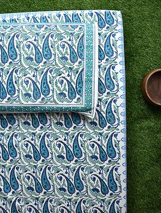 White Blue Handblock Printed Cotton Bedsheet Set