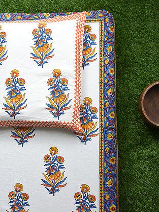 Red Multicolored Handblock Printed Cotton Bedsheet Set