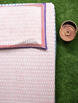 Pink Multicolored Handblock Printed Cotton Bedsheet Set