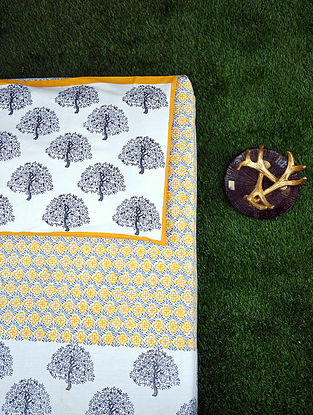 White Multicolored Handblock Printed Cotton Bedsheet Set