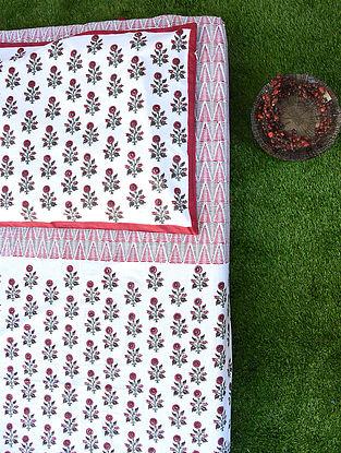 Red White Handblock Printed Cotton Bedsheet Set