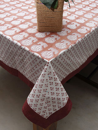 Red White Handblock Printed Cotton Table Cover