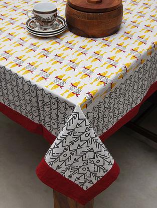 White Multicolored Handblock Printed Cotton Table Cover