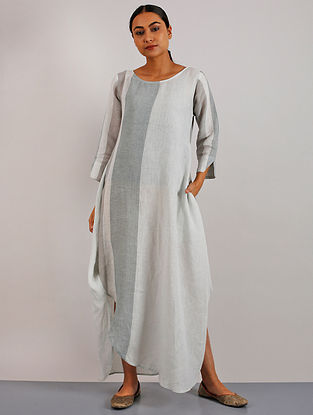 Sunako Aqua Linen Stripe Dress