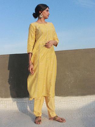 Yellow Hand Aari Embroidered Muga Silk Kurta