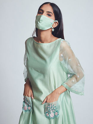 Aysa Sage Green Embroidered Chanderi Silk Dress with Cotton Slip and Mask (Set of 3)