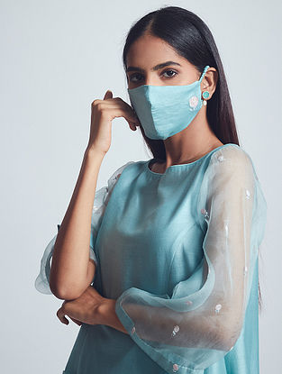 Aysa Teal Blue Embroidered Chanderi Silk Dress with Cotton Slip and Mask (Set of 3)