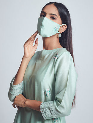 Amna Sage Green Embroidered Chanderi Silk Dress with Cotton Slip and Mask (Set of 3)