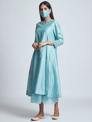 Amna Teal Blue Embroidered Chanderi Silk Dress with Cotton Slip and Mask (Set of 3)