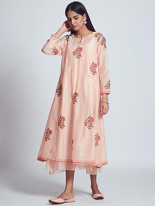 Hifa Rose Peach Hand Block Printed Chanderi Silk Dress with Slip (Set of 2)