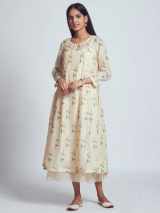 Hiza Beige Hand Block Printed Chanderi Silk Dress with Slip (Set of 2)
