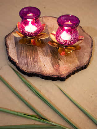 Purple and Gold Crackled Glass Lotus Hurricane (Set Of 2) (L- 5in, W- 5in, H- 4.5in)