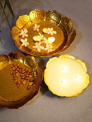 Gold Hammered Aluminium Lotus Urli Set With A Multi Wick Wax Urli (Set of 3)