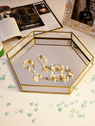 Gold and Silver Hexagonal Mirror Tray (L- 12in, W- 12in, H- 2in)