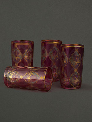 Pink & White Chidambaram Cylinder Glass (Set of 4) (H- 3in, Dia- 3.2in)