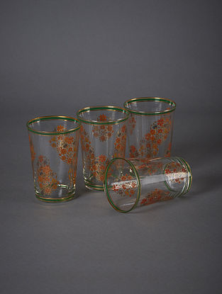 Green Banki Glass Set (Set Of 4) (H- 3in, Dia- 2.6in)