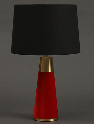 Red Table Lamp With Shade (H- 16.2in, Dia- 5.1in)