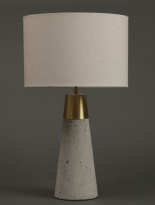 Grey Table Lamp With Shade (L- 4.9in, W- 4.9in, H- 15.4in)