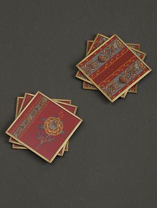 Lavana Red Coasters (Set of 6) (L- 3.9in, W- 3.9in)