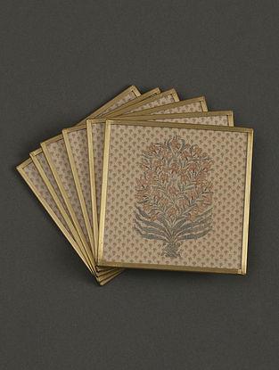 Uttama Beige Coasters (Set of 6) (L- 3.9in, W- 3.9in)