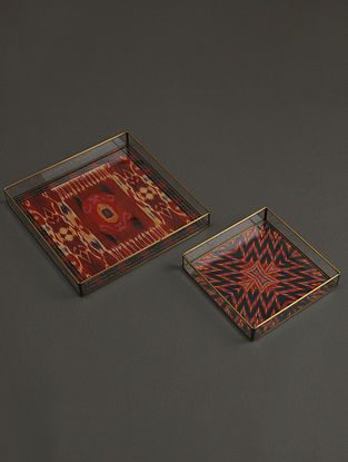 Ikat Red Tray (Set of 2)