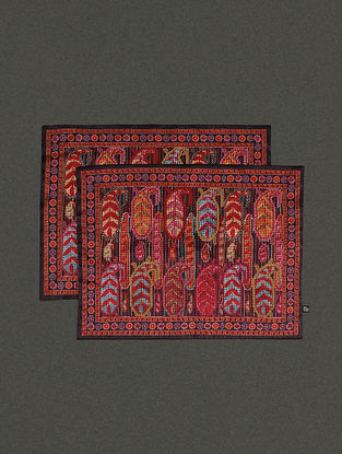 Red Mysore Silk Placemats (Set Of 2) (L- 13.8in, W- 19.7in)