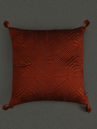 Rust Pure Silk Quilted Core Cushion With Filler (L- 17.7in, W- 17.7in)