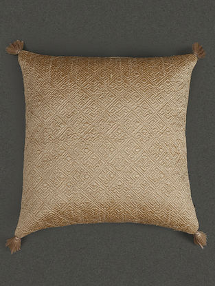 Beige Pure Silk Quilted Core Cushion With Filler (L- 17.7in, W- 17.7in)