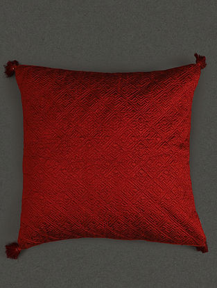 Red Pure Silk Quilted Core Cushion With Filler (L- 17.7in, W- 17.7in)