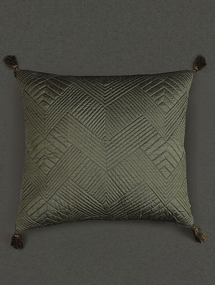 Green Pure Silk Quilted Core Cushion With Filler (L- 17.7in, W- 17.7in)