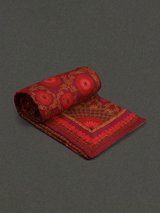 Red Cotton Voil Ikat Double Quilt (L- 106.4in, W- 88.7in)