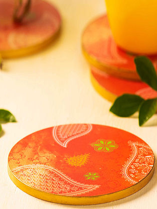 Orange MDF Coasters (Set of 6) (Outer Diameter: 3.9in)