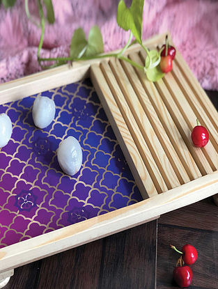 Purple Wooden Platter (L-14in, W-9in, H-2in)