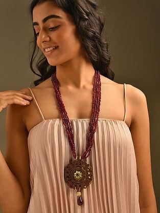 Maroon Gold Tone Beaded Kundan Necklace