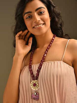 Maroon Agate Beaded Kundan Necklace