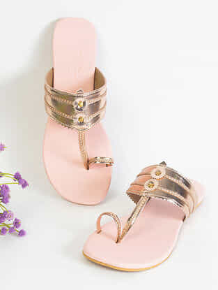 Rose Gold Handcrafted Faux Leather Kolhapuri Flats