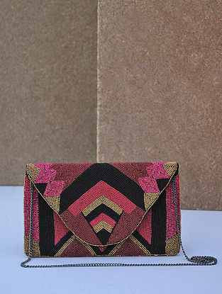 Multicolored Handcrafted Beaded Canvas Clutch
