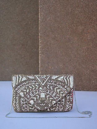 Silver Handcrafted Canvas Clutch