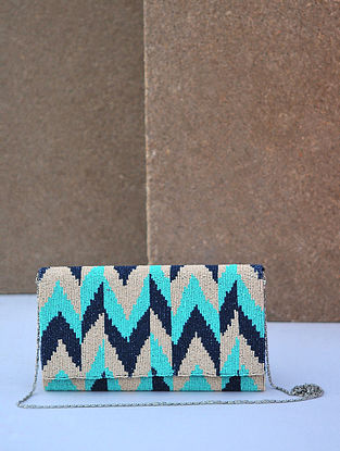 Multicolored Handcrafted Beaded Silk Clutch