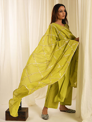 Lime Green Gota Trimmed Cotton Kurta with Palazzos and Mul Dupatta (Set of 3)