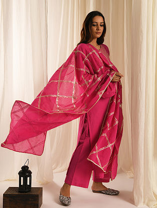 Pink Gota Trimmed Cotton Kurta with Palazzos and Mul Dupatta (Set of 3)