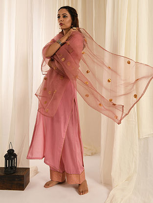 Old Rose  Gota Trimmed Cotton Kurta with Palazzos and Organza Dupatta (Set of 3)