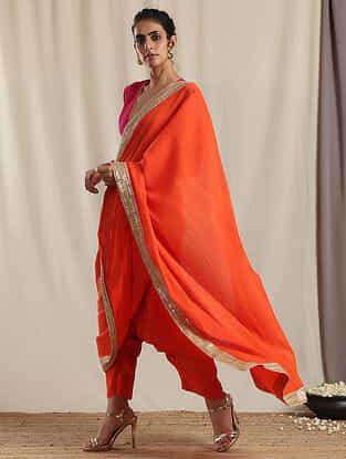 Orange Crinkled Cotton Blend Saree with Gota Details