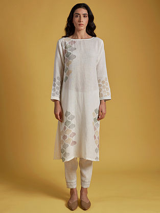 Aneri Ivory Hand Block Printed Cotton Kurta with Pants (Set of 2)