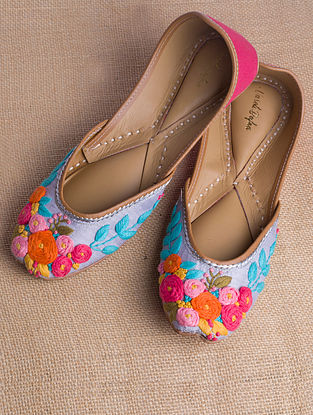 Multicolored Hand Embroidered Raw Silk Juttis