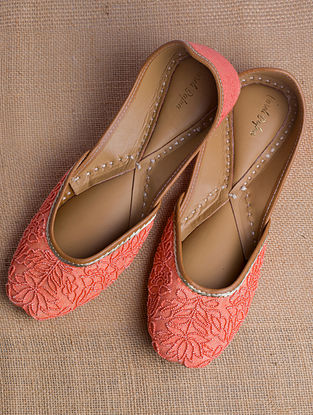 Orange Handcrafted Beaded Heavy Linen Juttis